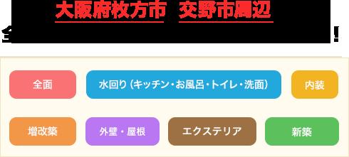 大阪府枚方市・交野市周辺の全面・水回りリフォームはお任せください!